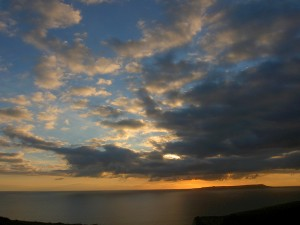 spectacular sunsets overlooking the Jurassic Coastline as seen from The Pink House Lulworth