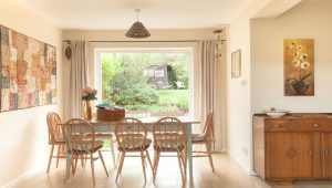 light and spacious dining room at The Pink House Lulworth holiday home accomodation in Dorset