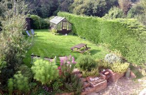 garden at The Pink House Lulworth holiday home accomodation
