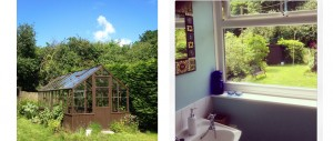 bathroom-with-a-garden-view-and-vintage-greenhouse-at-The-Pink-House-Lulworth