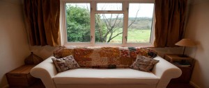 large double sofa bed in the downstairs snug and study gives an extra room with a lovely scenic view