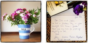 guest review and fresh flowers at The Pink House Lulworth holiday home