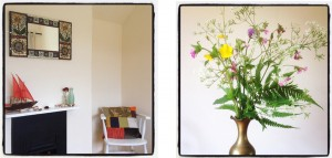 hand crafted mosaic mirrors and patchwork cushions with fresh flowers at The Pink House Lulworth