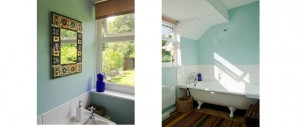 sunny bathroom with garden views and vintage Victorian roll top bath at The Pink House Lulworth