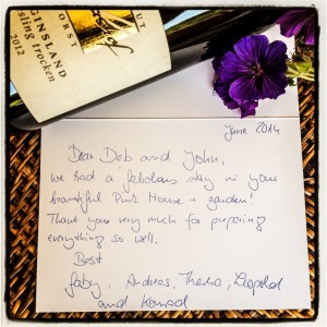 thank you note from guests at The Pink House Lulworth