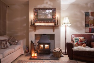 cosy log fires for the colder months at The Pink House Lulworth