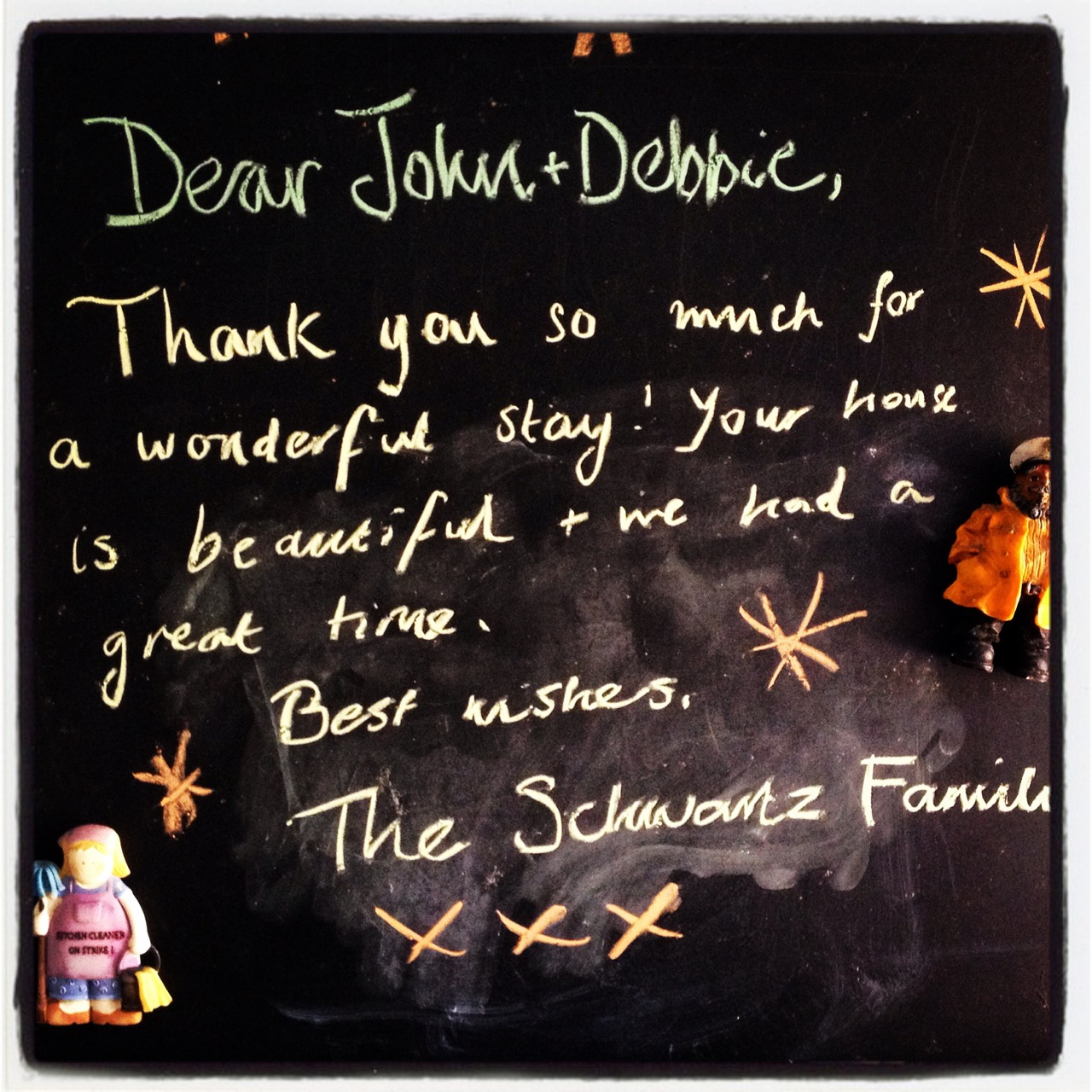 lovely thank you note from recent guests at The Pink House Lulworth