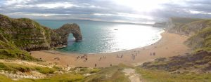 Durdle Door – the iconic limestone arch that extends into the sea along the Jurassic Coast of Dorset