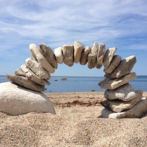 Pebble Sculptures at Worbarrow Bay